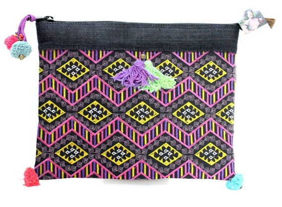 0fe8733415 Multicolored Diamond Pattern Clutch With Double Pom Poms