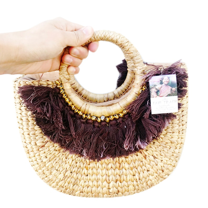 c3f79fb53f0fc3 Fair Trade Natural Rattan Hand Made Bag Straw Bag / Summer / | Etsy