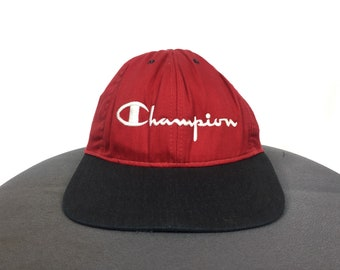 7c14d1ac928 CHAMPION AUTHENTIC APPAREL Hat Cap Embroidery Spell Out Big Logo Hat Cap  Red And Black Champion Size Fits All Adjustable