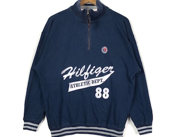 Half Zipper Sweatshirt TOMMY HILFIGER ATHLENTIC Embroidery Spell Out Tommy  Hilfiger Unisex Clothing Size Medium ea4fe5a63e6