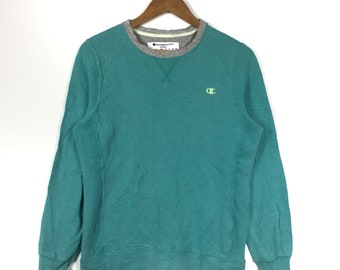 608269e8b0c00c CHAMPION AUTHENTIC APPAREL Embroidery Small Logo Champion Green Crew Neck  Sweatshirt Champion Unisex Clothing Size Small