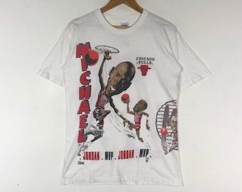 218b89270d5 MICHAEL JORDAN MVP Chicago Bulls 23 Printed Big Image Professional  Basketball Player Vintage Memorabilia Michael Jordan Tshirt