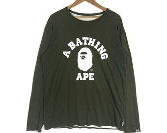 0bced7c7aa92 A BATHING APE College Tee Reversible Bape Sta Long Sleave Crew Neck Tshirt  A bathing Ape Men s Clothing Size Extra Large
