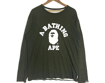 f09c9eb6dfea A BATHING APE College Tee Reversible Bape Sta Long Sleave Crew Neck Tshirt  A bathing Ape Men s Clothing Size Extra Large