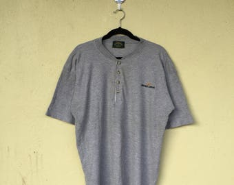 c4a0b566b52b1 Gray Crew Neck Button Tshirt Embroidery Spell Out EMPORIO ARMANI JEANS  Small Logo Emporio Armani Clothing Size Extra Large