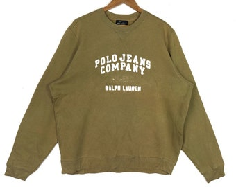 80e3cb1dd3415 POLO JEANS COMPANY Ralph Lauren Embroidery Spell Out Big Logo Polo Jeans  Crew Neck Sweatshirt Men s Clothing Size Large