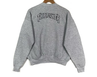 341c159499c7 THRASHER MAGAZINE Spell Out Printed Big Logo Vintage Gray Crew Neck Sweatshirt  Thrasher Magazine Skater Fashion Clothing
