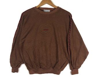 6bf1c03b7 G.GUCCI Embroidery Big Logo Gucci Heritage Style Brown Crew Neck Sweatshirt  Vintage G.Gucci Fashion Style Size Medium