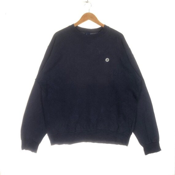 Rare!! STUSSY Small Logo Embroidery Spell Out Small logo STUSSY Hip Hop Swag Stussy Crew Neck Sweatshirt Clothing Size Large
