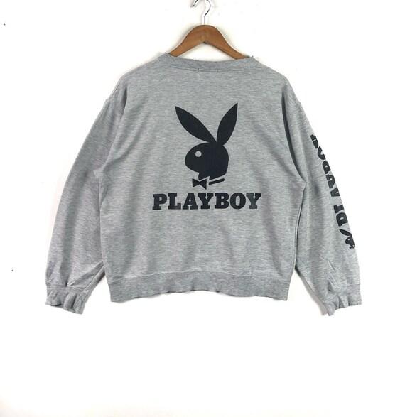 PLAYBOY BIG BUNNY Playboy Big Logo  Grey Crew Neck Sweatshirt Unisex Clothing Playboy Bunny Size Medium