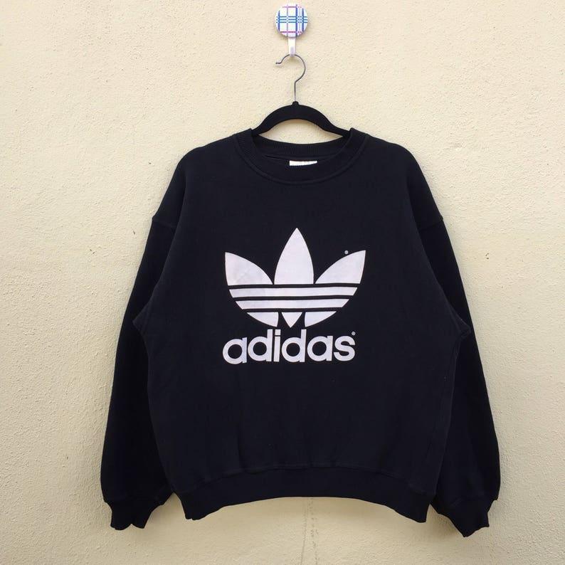 17eaf0693f88b Rare!! Vintage Black Sweatshirt ADIDAS TREFOIL Big Logo Adidas Spell Out  Vintage Adidas Clothing Unisex Large