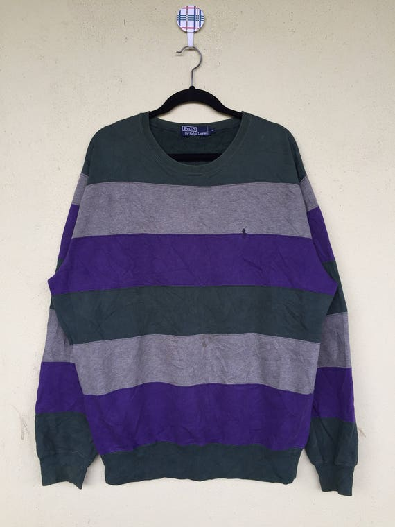 Embroidery Ralph Size By POLO Pony Clothing Lauren Crew Stripe Large RALPH LAUREN Small Rare Polo Neck PIFwpqw