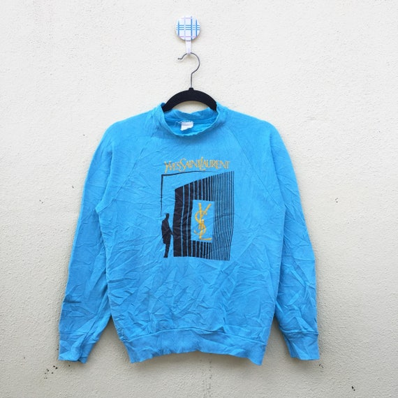 Size Out Neck YVESSAINTLAURENT Big Blue Printed Logo True Vintage Crew Clothing Small Sweatshirt Spell Hwt7gq4