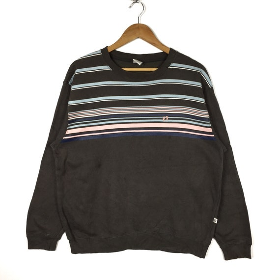 Rare!! Hang Ten Stripe Sweatshirt Hang Ten Embroid