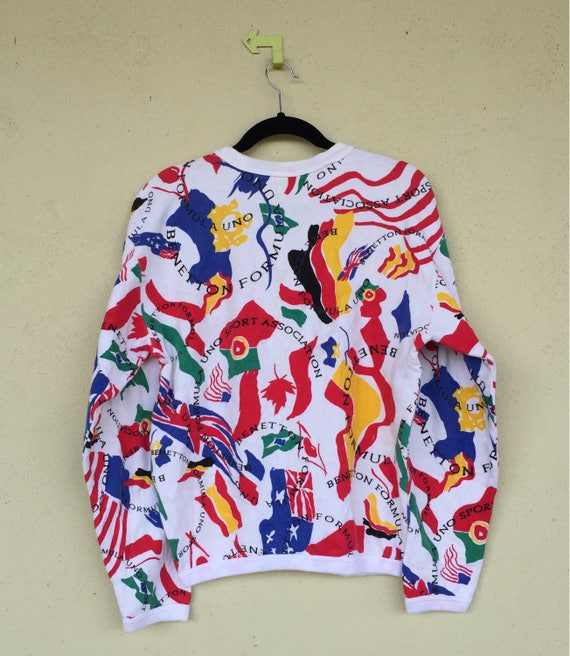 Medium Sweatshirt 1 Pullover BENETTON Size Over Very Country Rare Flag Clothing Unisex FORMULA Print Benetton qExw5H6n0