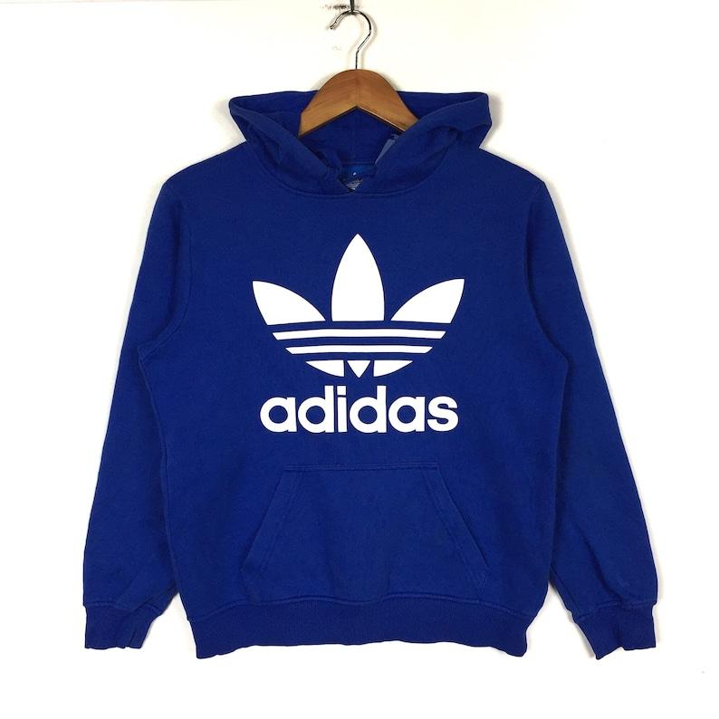 608c98320ca83 Rare!!ADIDAS TREFOIL Printed Big Logo Adidas Trefoil Fashion Style Adidas  Trefoil Blue Hoodie Clothing Size Medium