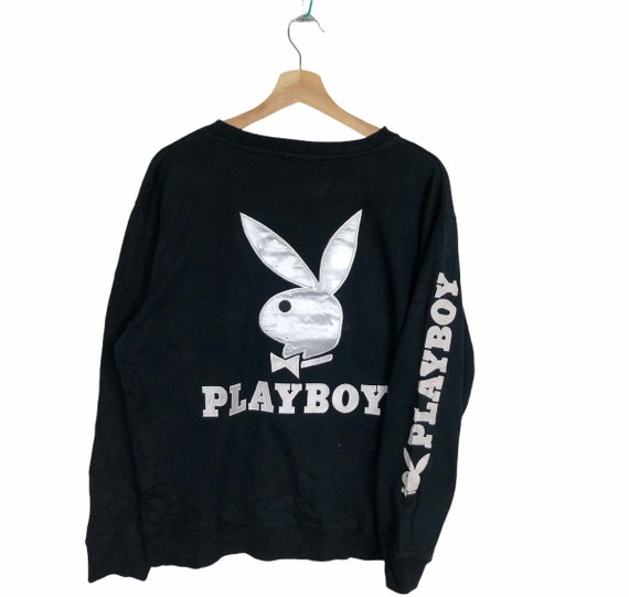 Rare!! PLAYBOY BIG BUNNY Black Crewneck Sweatshirt