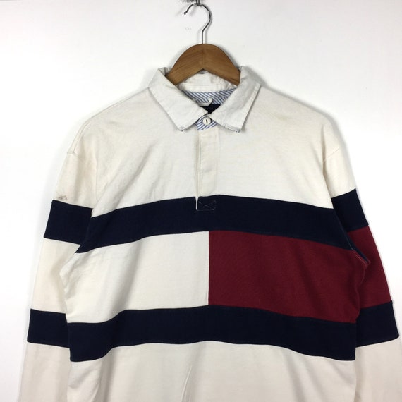 Hilfiger Down Large Embroidery Tommy TOMMY Size Hip Button Logo Hop Polos Rare Big Flag Flag HILFIGER Tommy Hilfiger Fashion Logo Style qSxR04w7