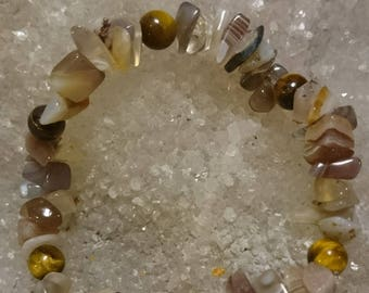 Agate and Tiger eye - 18cm M3 Crystal healing bracelet
