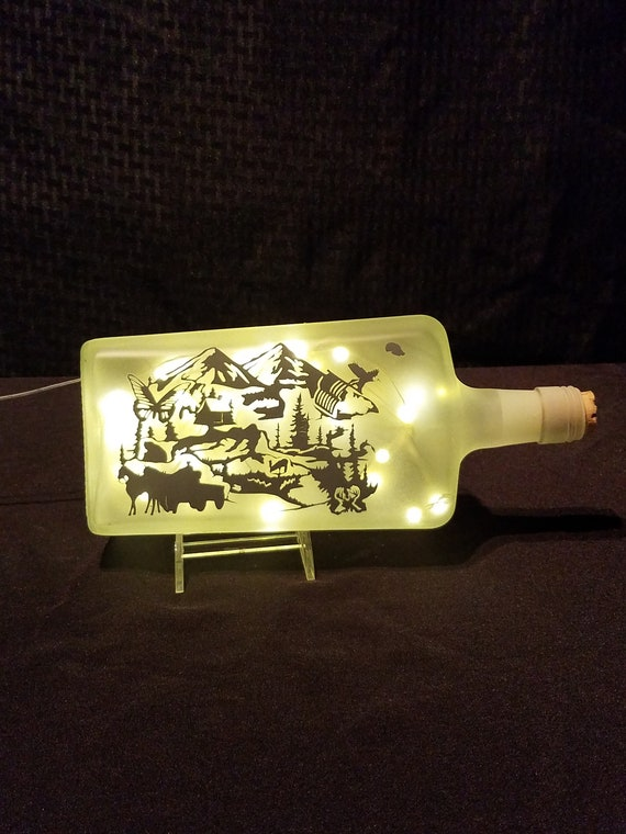 This Land Is Your Land Upcycled Patriotic LED/USB Bottle Light,