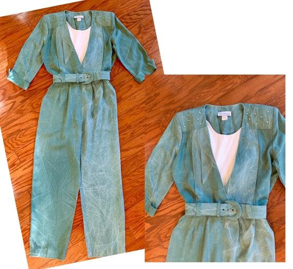 Vintage 1980's sage green jumpsuit - Ultra Dress