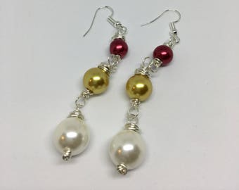 Red, Gold, and White Dangle Earrings