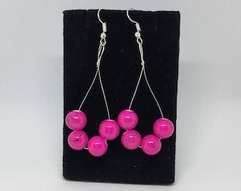 Pink and Black Dangle Hoop Earrings