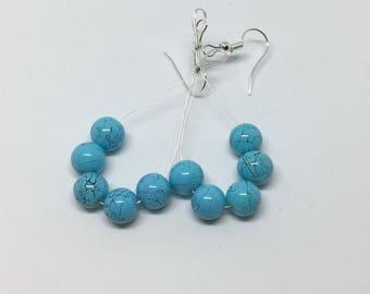 Turquoise Blue Dangle Hoop Earrings