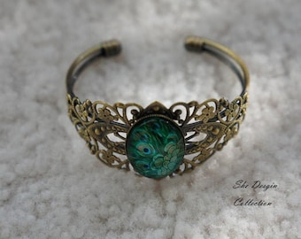 Peacock Necklace /& Matching Cuff Bracelet