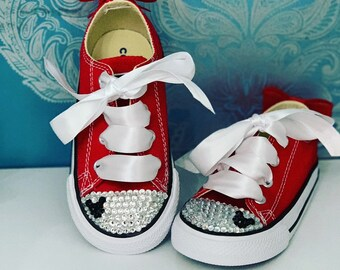 Red crystal Mickey Mouse converse 73e326992