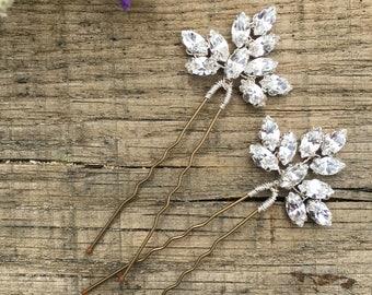 20 or 50   *8 Colours* Bridal Wedding Crystal Diamante Flower Rose Hair Pin 10