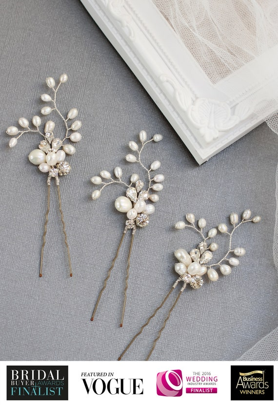 Clothing, Shoes & Accessories Diamante and Freshwater Pearl Bridal Hair Pin Hair Pins