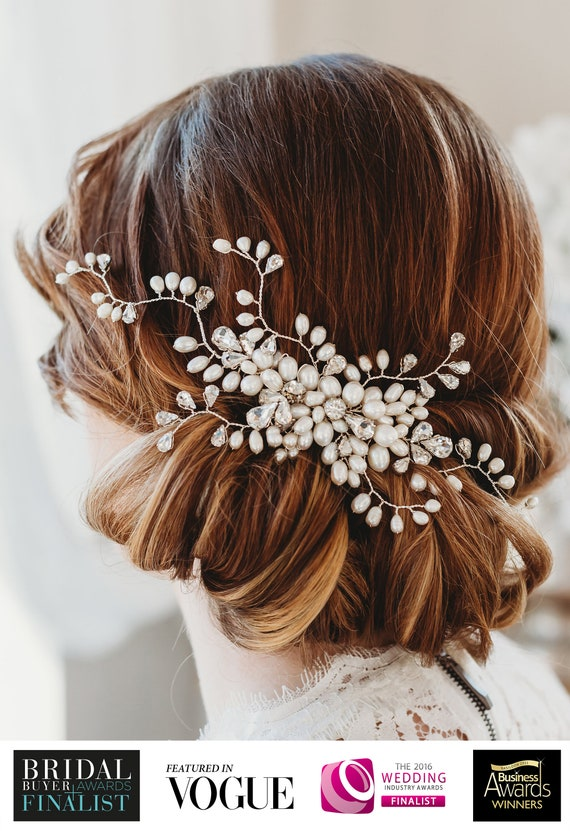 Pearls Wedding Hair Vine Crystal Bridal Accessories Diamante Flower Headpiece
