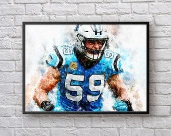 a2abf72da Luke Kuechly Print, Gift for Carolina Panthers Fan, American Football  Painting, Sports Art, Football Home Decor, Kids Room Man Cave Wall Art