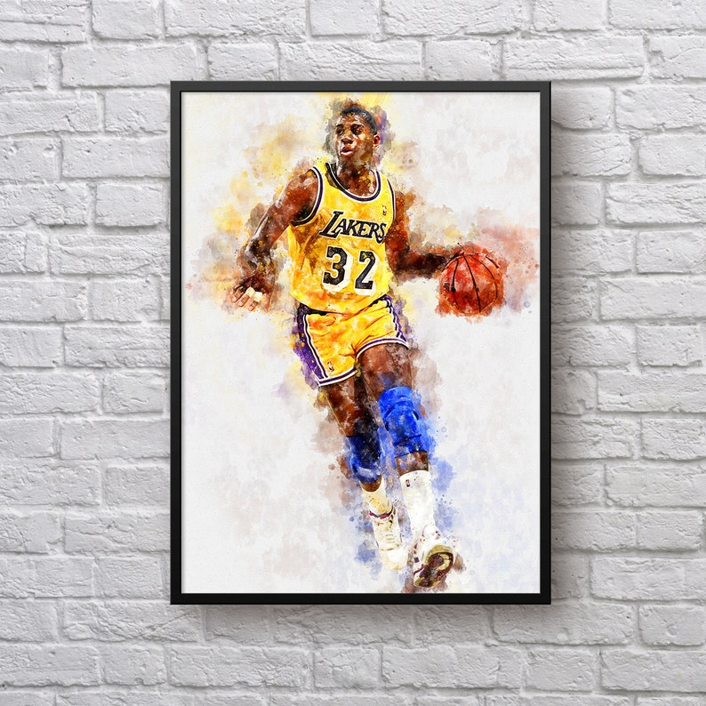 85393704b Magic Johnson Poster Los Angeles Lakers Art Gift for Lakers
