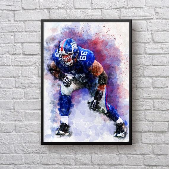 David Diehl Print, Gift for New York Giants Fan, Giants Home Decor, American Football Fan Gift, Sports Art, Kids Room Man Cave Wall Art