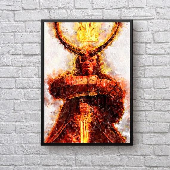 Hellboy Art Print, Superhero Poster, David Harbour, Minimalist Movie Art, Gift for Hellboy Fan, Dark Horse Comics, Kids Room Man Cave Decor
