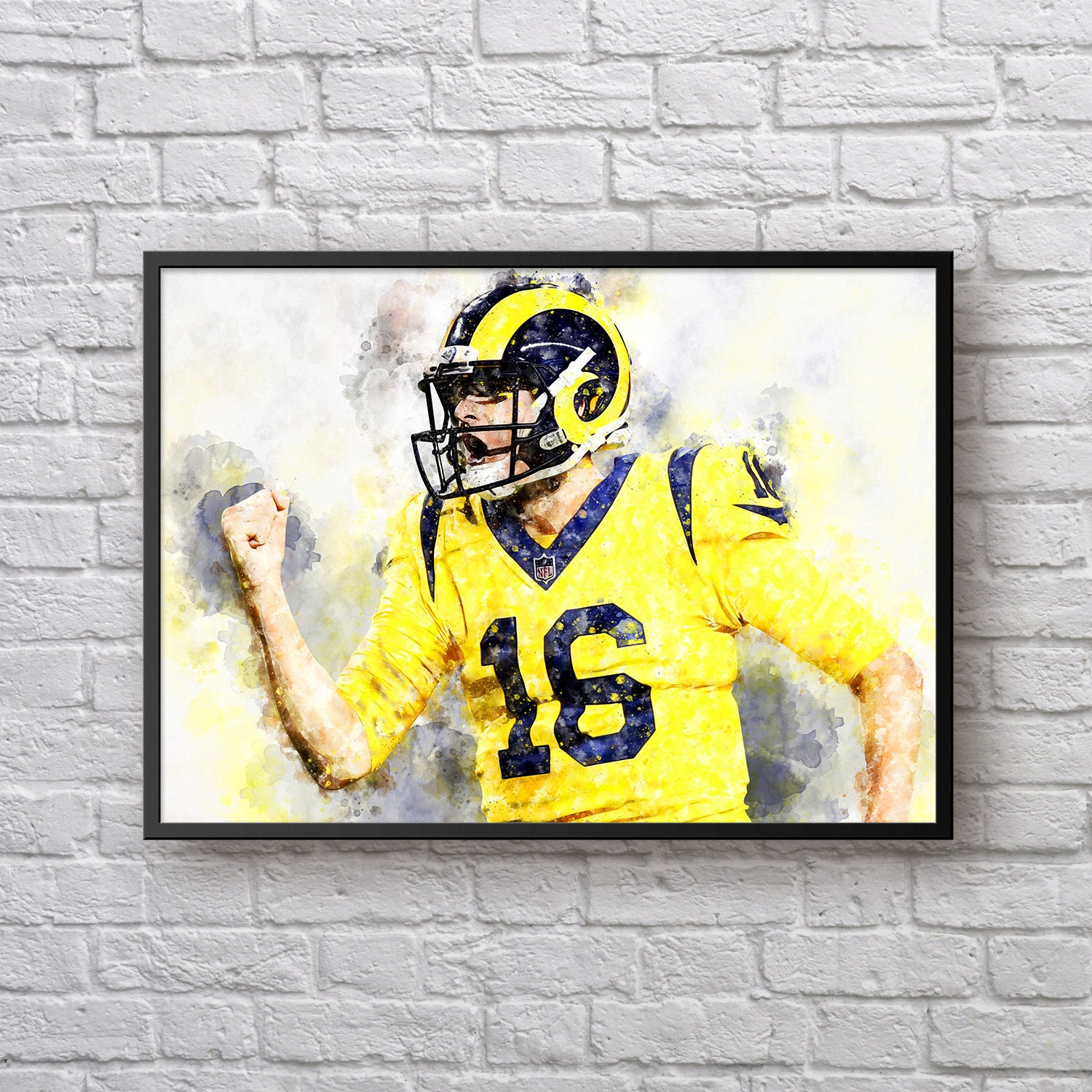 Jared Goff Poster, Los Angeles Rams Decor, Rams Fan Gift, Football ...