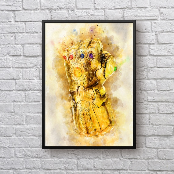 Infinity Gauntlet Poster, Avengers Infinity War Print, Thanos Infinity Stones, Marvel Universe, Superhero Art Gift, Kids Room Decor Man Cave