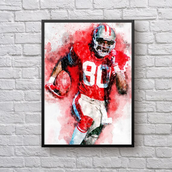 Jerry Rice Print, Gift for San Francisco 49ers Fan, SF 49ers Home Decor, American Football Fan Gift, Sports Art, Kids Room Man Cave Wall Art