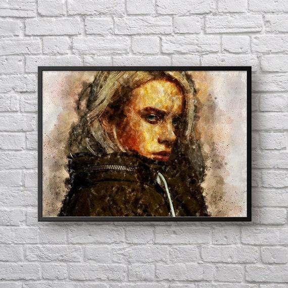 Billie Eilish Poster, Billie Eilish Portrait Art Print, Gift for Billie Eilish Fan, Pop Music Artwork Home Decor, Hip Hop Wall Art