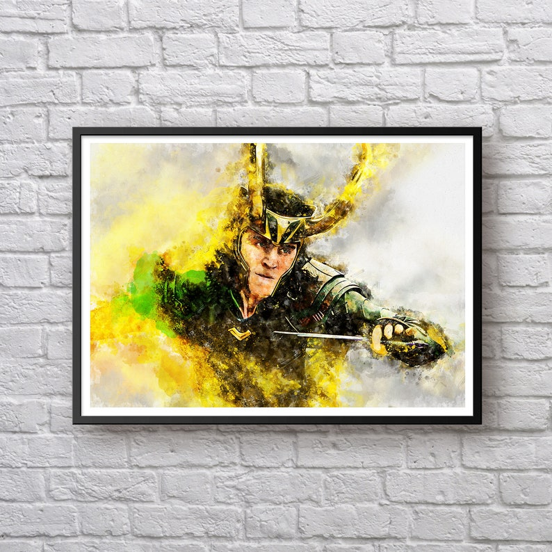 Loki Watercolor Print, Thor Ragnarok Poster, Tom Hiddleston, Marvel  Universe Modern Wall Art Canvas Kids Room Decor Man Cave Decor Superhero