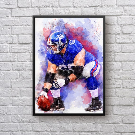 Shaun O'Hara Print, Gift for New York Giants Fan, Giants Home Decor, Sports Art, American Football Fan Gift, Kids Room Man Cave Wall Art