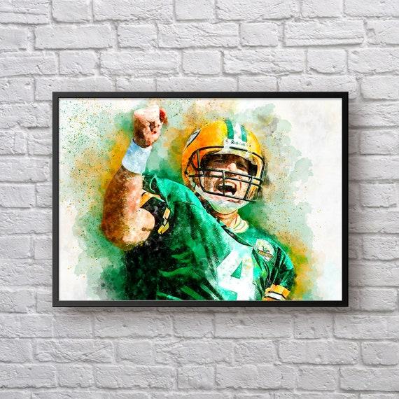 Brett Favre Print, Gift for Green Bay Packers, Packers Home Decor, American Football Sports Art Poster, Kids Room Man Cave Wall Art