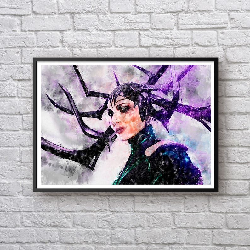 Hela Watercolor Print, Thor Ragnarok Poster, Cate Blanchett, Marvel  Universe Modern Wall Art Canvas Print Kids Room Decor Man Cave Superhero