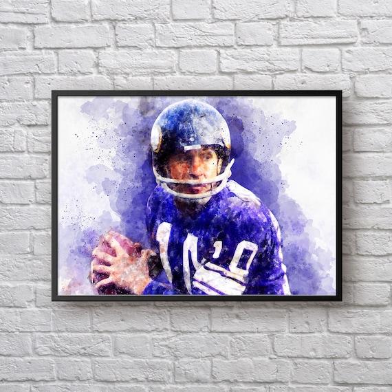 Fran Tarkenton Print, Gift for Minnesota Vikings Fan, Vikings Home Decor, American Football Print, Sports Art, Kids Room Man Cave Wall Art