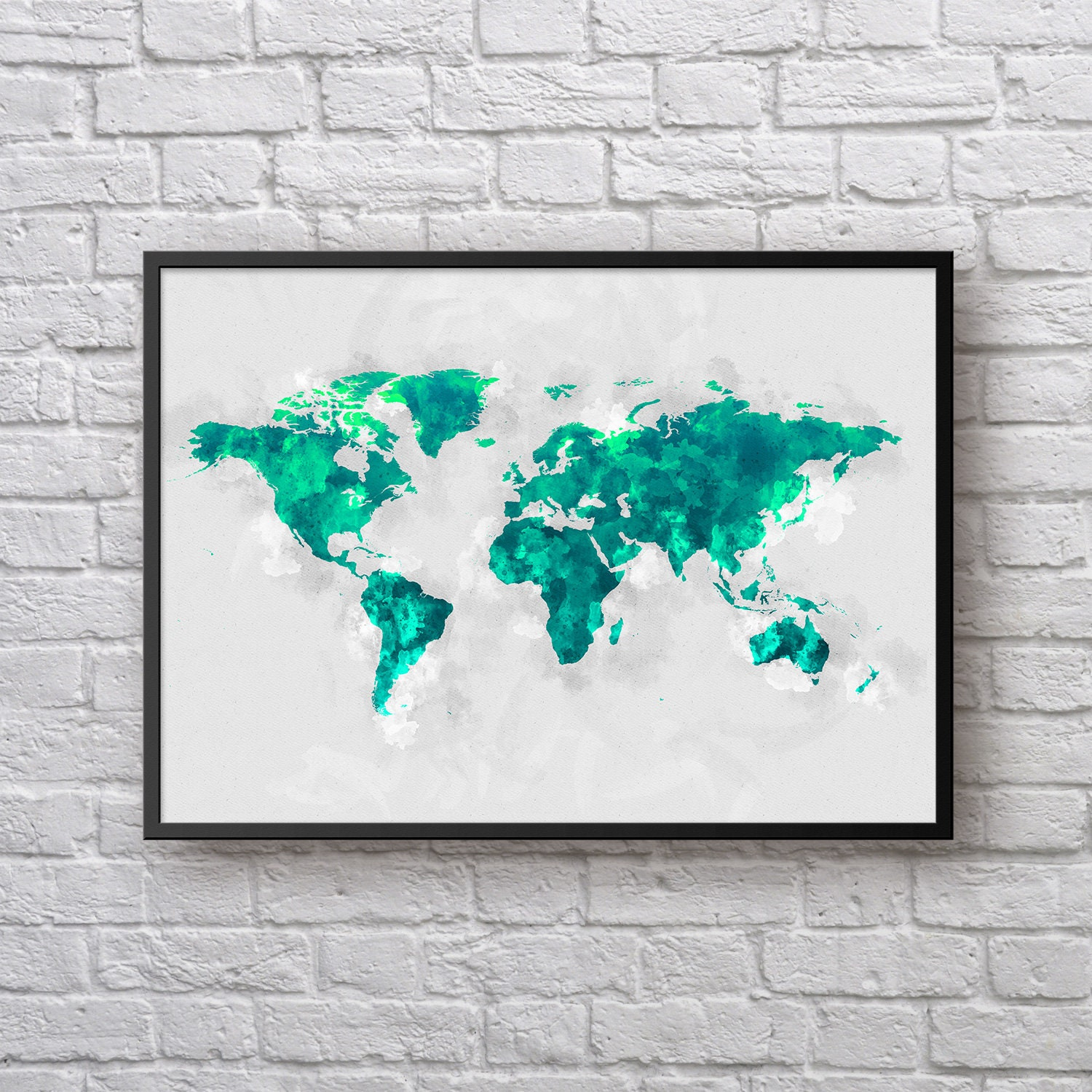 World map poster travel map large world map green watercolor world map poster travel map large world map green watercolor world map world map wall art kids room poster home decor office poster gumiabroncs Choice Image
