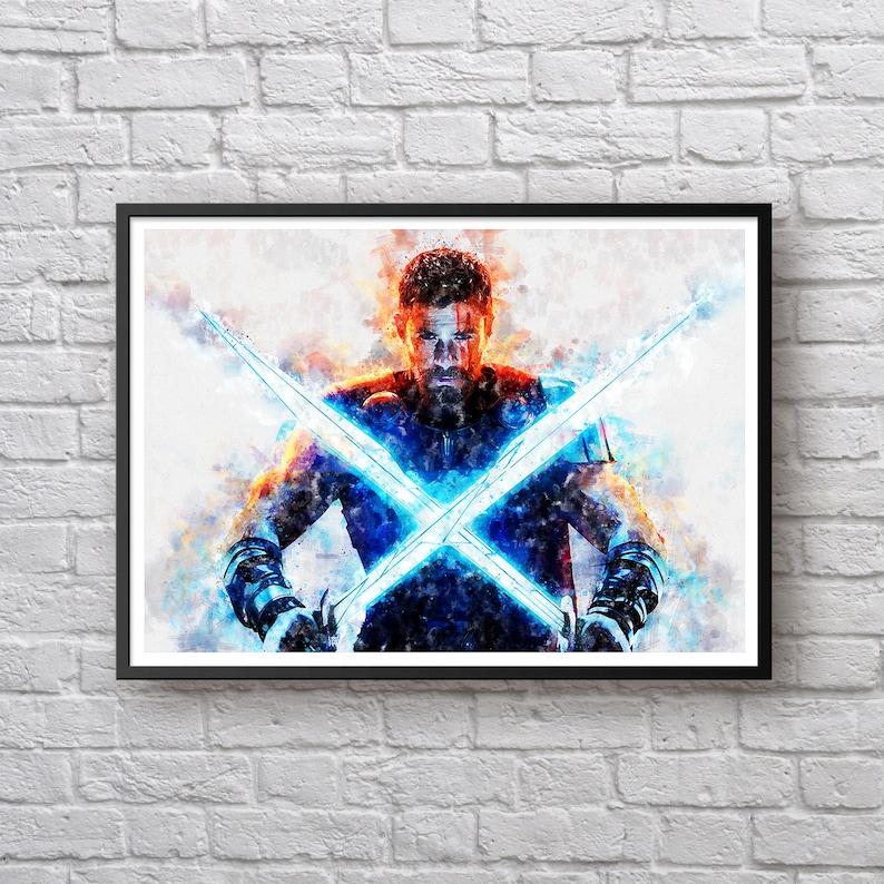 Thor Watercolor Print, Thor Ragnarok Movie Poster, Marvel Universe Fan Art,  Chris Hemsworth Kids Room Decor Gift Man Cave Wall Art Superhero