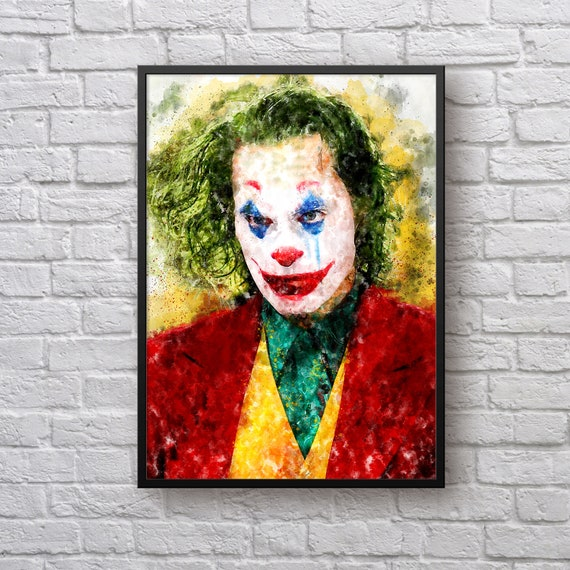 Joker Poster, Superhero Villian Movie Poster, Joker Art Print Joaquin Phoenix, DC Comics Fan Art, Kids Room Home Decor, Man Cave Wall Art