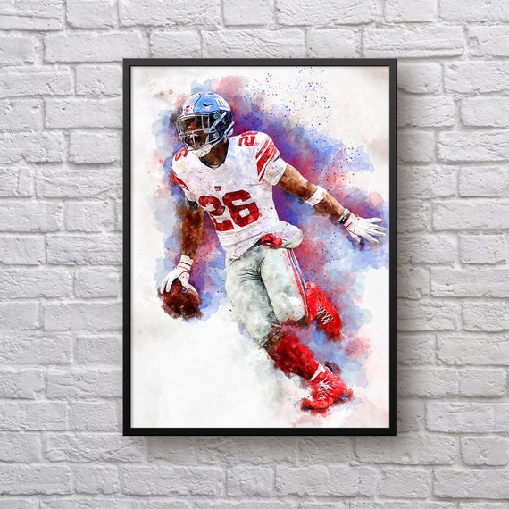 Saquon Barkley Print, Gift for New York Giants Fan, Giants Home Decor, Sports Art, American Football Fan Gift, Kids Room Man Cave Wall Art